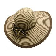 Wholesale Two Tone Ladies Wide Brim Straw Hats with Flowers
