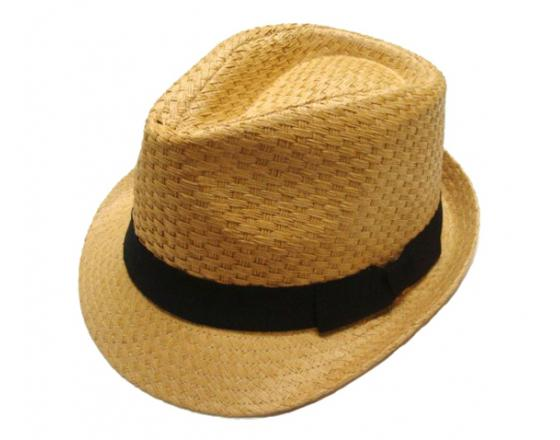 Wholesale Youth Straw Fedoras with Black Bow Tie