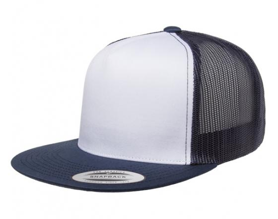 Wholesale Flexfit™ Yupoong Flat Bill White Front Two Tone Trucker Hats