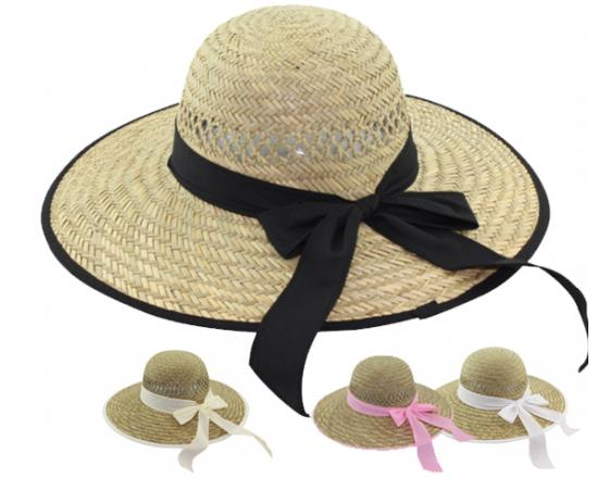 Wholesale Ladies Rush Straw Hats with Color Trim