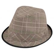 Wholesale Polyester Plaid Fedora Hats with Black Trim