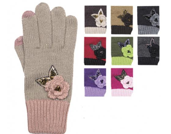 Wholesale Assorted SmartTips Gloves w/Flower & Butterfly