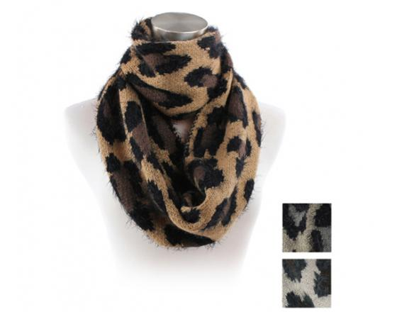 Wholesale Assorted Leopard Eyelash Infinity Scarf