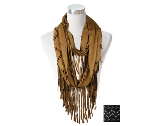 Wholesale Faux Suede Infinity w/ Fringe