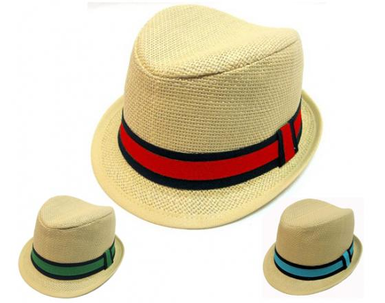 Wholesale Youth Assorted Straw Fedoras