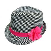 Wholesale Youth Polyester Houndstooth Fedora Hats with Pink Bow