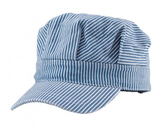 Wholesale Washed Denim Stripe Conductor Caps