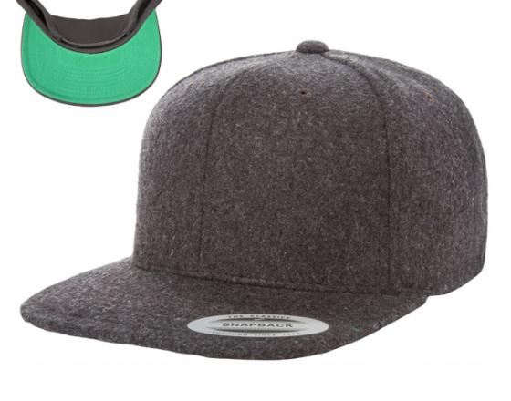 Wholesale Flexfit™ Yupoong Melton Wool Flat Bill Snapback Hats