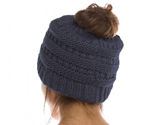 Wholesale Cable Knit Messy Bun Beanies