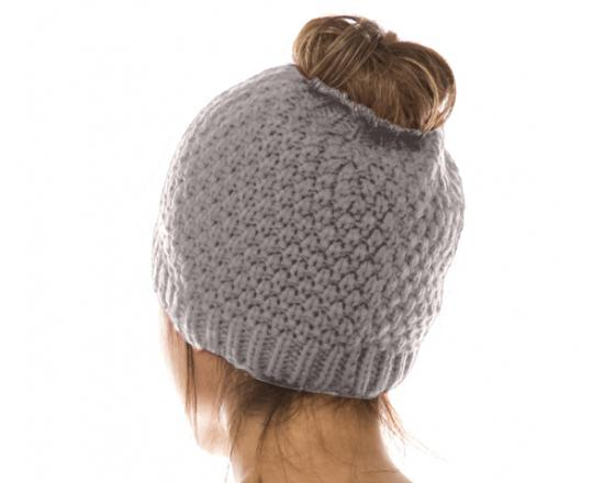 Wholesale Nubby Pattern Messy Bun Beanies