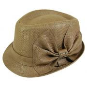 Brown Wholesale Straw Fedoras with Rhinestone Bow