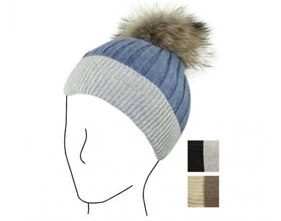 a04414d7a13 Wholesale Two Tone Ribbed Beanie w Raccoon Pom - Y2034
