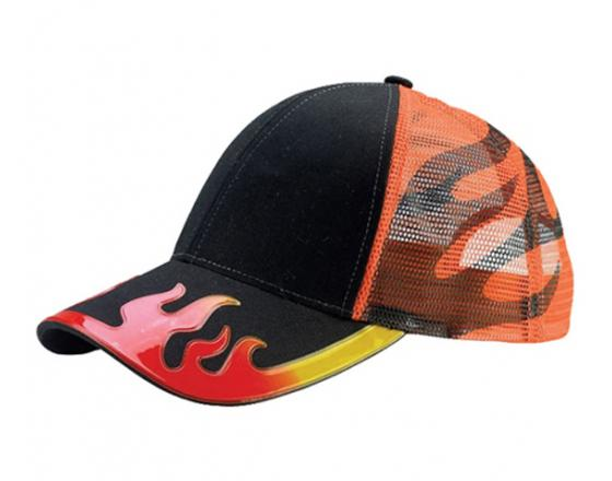 Wholesale Embossed Flame Cotton Twill Trucker Hats