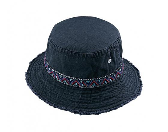 Wholesale Cotton Twill Washed Bucket Hats with Frayed Brim & Jacquard Decorative Band