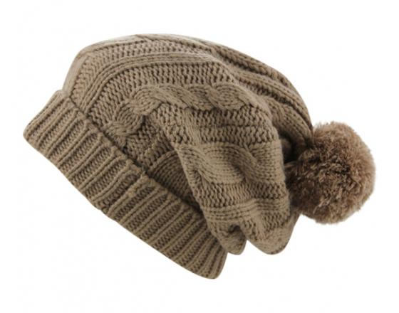 Wholesale Cable Knit Slouchy Pom-Pom Beanies